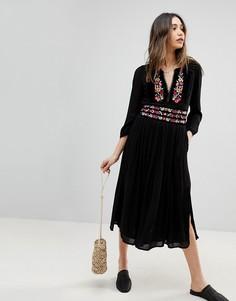 Платье миди с вышивкой Free People Flora - Черный