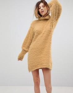 Платье-джемпер с отворачивающимся воротником Free People Honey - Желтый
