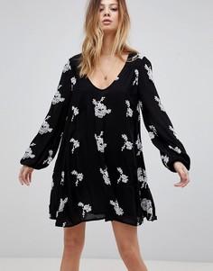 Свободное платье с длинными рукавами и принтом Free People Emma - Черный