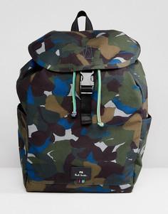 Парусиновый рюкзак цвета хаки с камуфляжным принтом PS Paul Smith - Зеленый