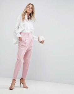 Широкие льняные брюки с завышенной талией ASOS Tailored - Розовый