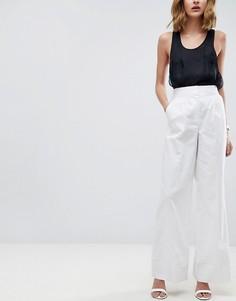Широкие льняные брюки ASOS Tailored - Белый