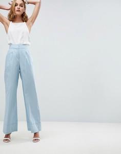 Широкие льняные брюки ASOS Tailored - Синий