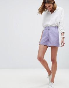 Льняные шорты с D-образным кольцом ASOS Tailored - Фиолетовый