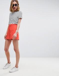 Льняные шорты с D-образным кольцом ASOS Tailored - Оранжевый
