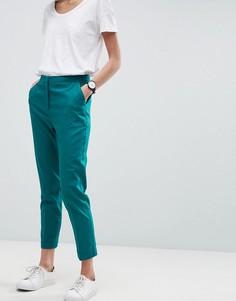 Льняные брюки-сигареты ASOS Tailored - Зеленый