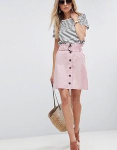 Льняная мини-юбка с присборенным поясом ASOS Tailored - Розовый