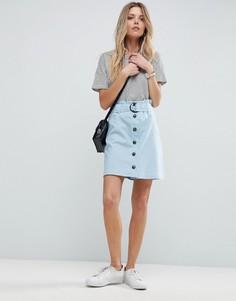 Льняная мини-юбка с присборенным поясом ASOS Tailored - Синий