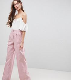 Широкие льняные брюки ASOS TALL - Розовый