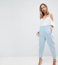 Широкие льняные брюки со складками и завышенной талией ASOS PETITE Tailored - Синий