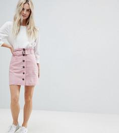 Мини-юбка с присборенной талией ASOS PETITE - Розовый