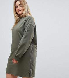 Трикотажное платье оверсайз с молниями ASOS CURVE - Зеленый