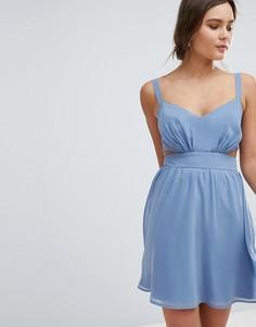 Платье мини на бретелях с вырезами ASOS - Синий
