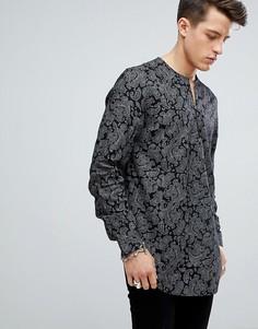 Рубашка с V-образным вырезом и принтом пейсли ASOS - Черный