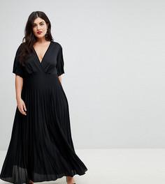 Платье макси в стиле кимоно с плиссированной юбкой ASOS CURVE - Черный
