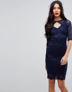 Кружевное платье-футляр миди с вырезом Jessica Wright - Черный