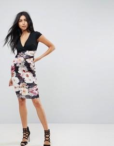 Облегающее платье с принтом на юбке Jessica Wright - Мульти