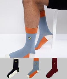 Набор из 3 пар однотонных носков темно-синего, бордового и синего цвета Lyle & Scott - Мульти