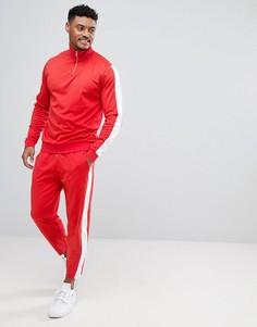 Красный спортивный костюм в стиле ретро с белыми вставками ASOS - Красный
