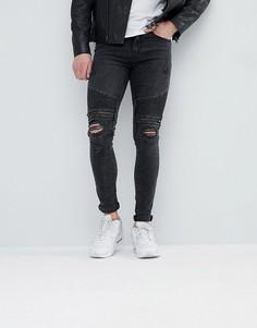 Черные рваные джинсы в байкерском стиле New Look - Черный