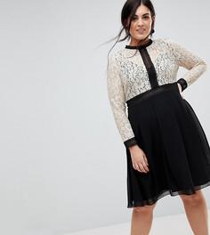 Платье с кружевным лифом и расклешенной юбкой Little Mistress Plus - Мульти