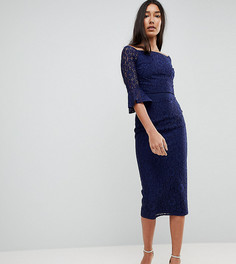 Кружевное платье миди с открытыми плечами и расклешенными рукавами Little Mistress Tall - Темно-синий
