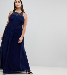 Платье макси с отделкой Little Mistress Plus - Темно-синий