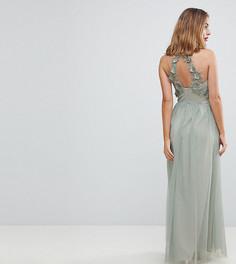 Платье макси с кружевной аппликацией и запахом Little Mistress Petite - Зеленый
