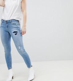 Синие джинсы скинни с заниженной талией и рваной отделкой ASOS PETITE WHITBY - Синий