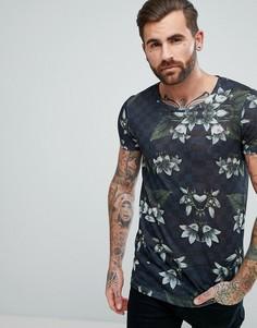 Длинная футболка с цветочным принтом ASOS DESIGN - Темно-синий