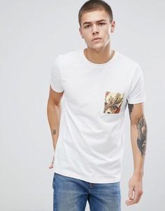 Длинная футболка с цветочным принтом на кармане ASOS - Белый