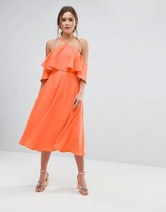 Платье миди с оборкой ASOS - Красный