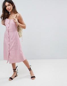 Платье миди на пуговицах с добавлением льна ASOS - Розовый