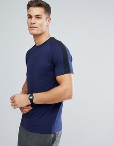 Футболка с полосой на рукавах реглан Selected Homme - Темно-синий