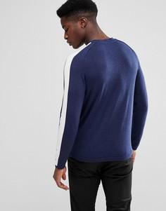 Трикотажный джемпер с полосой на рукавах реглан Selected Homme - Темно-синий