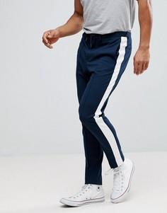 Зауженные брюки с полосками Selected Homme - Темно-синий