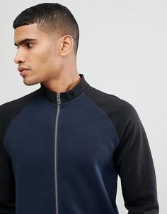 Спортивный свитшот с контрастными рукавами Selected Homme - Темно-синий