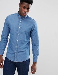 Приталенная джинсовая рубашка с воротником на пуговицах Selected Homme - Синий