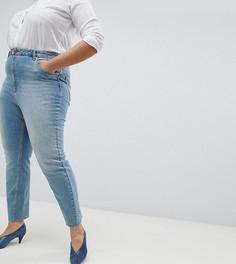 Выбеленные джинсы прямого кроя с завышенной талией и необработанным краем ASOS CURVE FARLEIGH - Синий