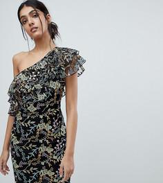 Платье мини на одно плечо с оборками Dolly & Delicious Tall - Мульти