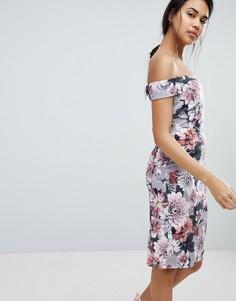 Платье-футляр с открытыми плечами и цветочным принтом Paper Dolls - Мульти