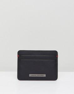 Черный кожаный кошелек для карт Armani Exchange - Черный