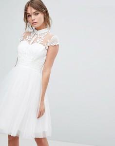 Короткое приталенное платье из тюля с кружевным воротником Chi Chi London - Белый