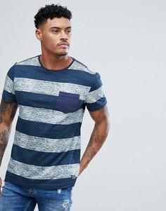 Темно-синяя футболка в полоску Blend - Темно-синий