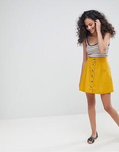 Хлопковая короткая расклешенная юбка с пуговицами спереди ASOS - Желтый