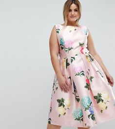 Атласное платье миди с принтом Chi Chi London Plus - Мульти
