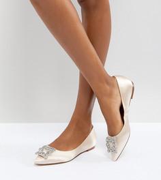 Туфли на плоской подошве с отделкой эксклюзивно для Dune London Bridal Briella - Бежевый