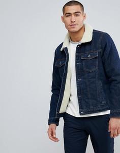 Джинсовая куртка с подкладкой из искуcственного меха Abercrombie & Fitch - Синий