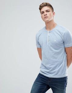Синяя меланжевая футболка хенли с логотипом Abercrombie & Fitch - Синий