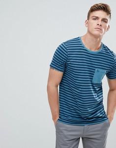 Синяя футболка в полоску с карманом Abercrombie & Fitch - Синий